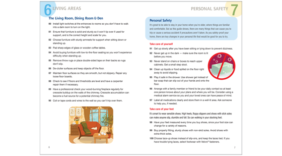 Home Safety Guide, living areas and personal safety spread
