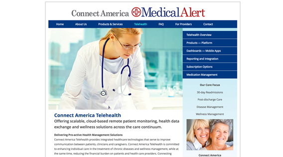 Website – Telehealth section, main page
