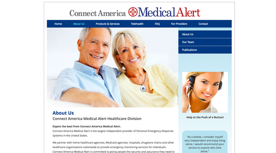 Website – About us section, main page